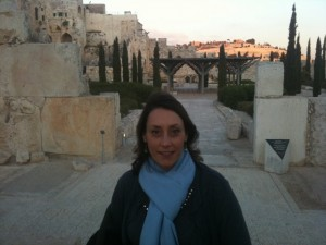 Katharine on Temple's southern steps in Jerusalem