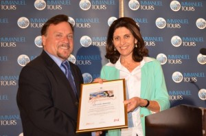 Myles with Ahuva Zaken as she presents certificate to Zola Tours
